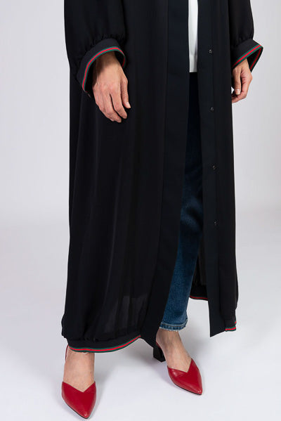 Latest Abaya Designs Black with Stripes on Cuffs and Hemline