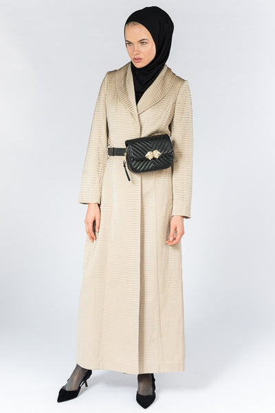 Hijab Fashion Style Beige Collar Pleated Abaya Coat
