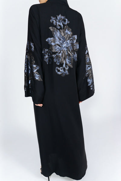 Best Hijabi Outfits Black Sequins Back Sleeves Abaya