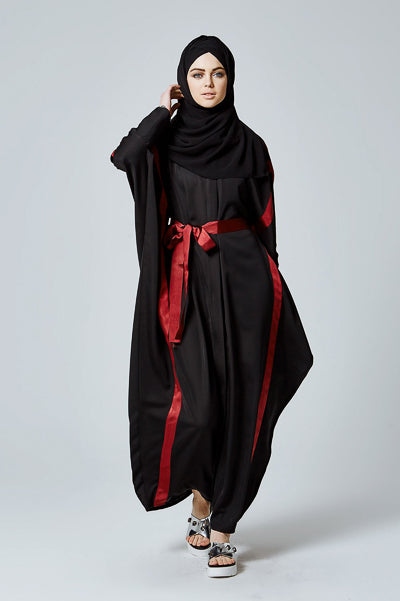 Modest Evening Dresses With Sleeves Black Red Ribbon
