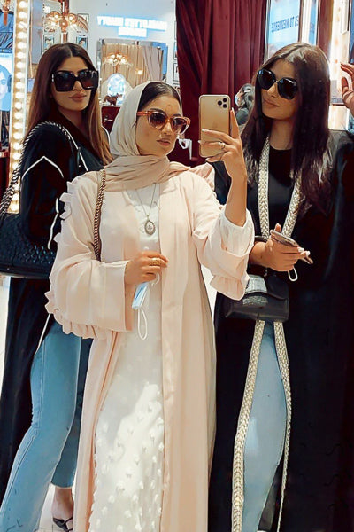 Best Modest Clothing Stores Online Pink Open Abaya Frills