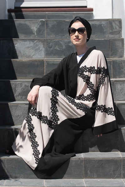 Best Hijabs and Abayas Occasions Black with Beige Lace