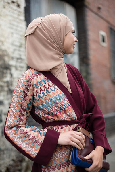 Must-Have Open Abaya Kimono Designs Red Maroon Knit
