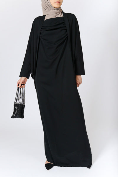 Plus Size Modest Clothing Black Loose Dress Batwing