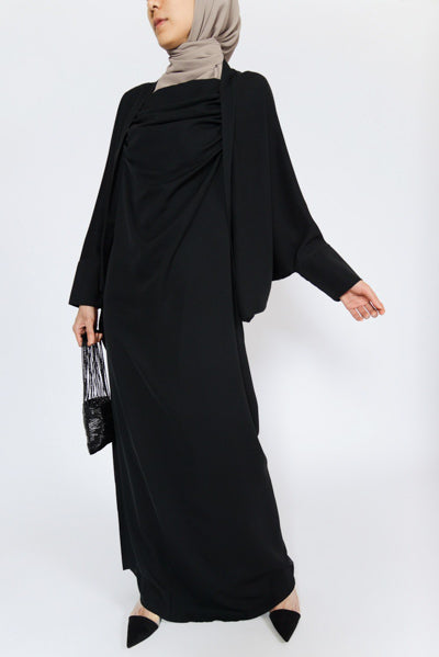 Cheapest Modest Evening Dresses With Sleeves Black Batwing Loose