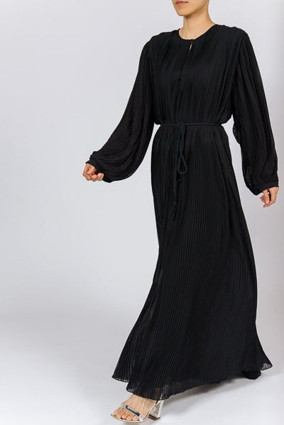 Latest Abaya Designs 2020 Black Pleats Abaya Dress with Belt