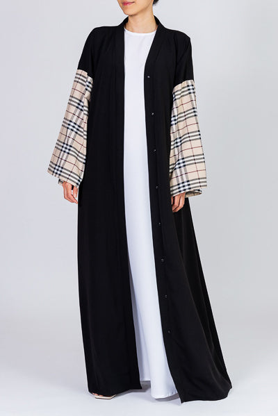 Black Abaya with Light Beige Checkered Sleeves and Belt | FERADJE