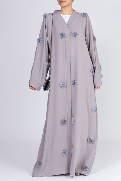 Ways to Style Your Abayas Grey Abaya with Embroidered Flowers