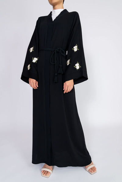 Cheapest  Modest Evening Dresses With Sleeves White Flowers and Belt