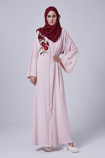 Where To Buy Fancy Abayas For Weddings Pink Abaya with Floral