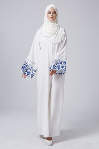 Reasons to Wear an Abaya White with Blue Print and Lace on Sleeves
