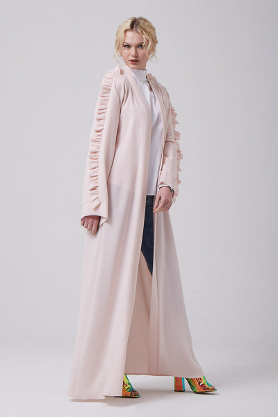 Where To Buy Modest Clothes Online Open Frills Long Blush Abaya Coat