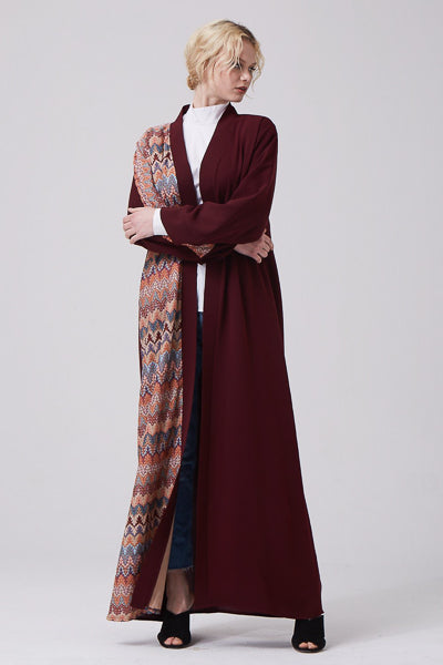Modest Outfits For Summer Maroon Open Abaya
