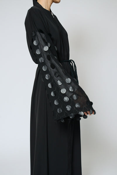 What are the Latest Abaya Designs 2020 Black Abaya with Circle Sleeves