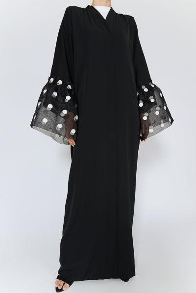 What are the Latest Abaya Designs 2020 Black Abaya with Polka Dots Sleeves