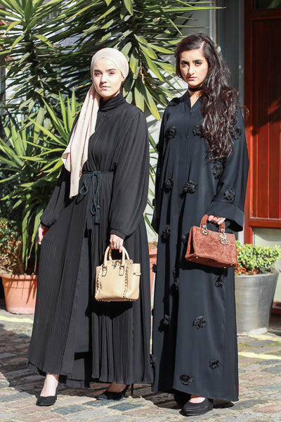 Where To Buy Modest Clothes Online Black Pleated Dress Abaya