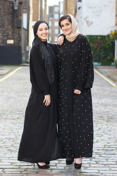 Best Abaya For Wedding UK in Black with Pearls