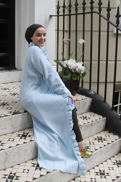 designs of abaya open baby blue with frills