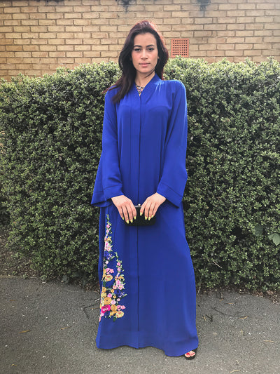 Latest Abaya Designs 2020 Blue Closed Abaya with Flowers