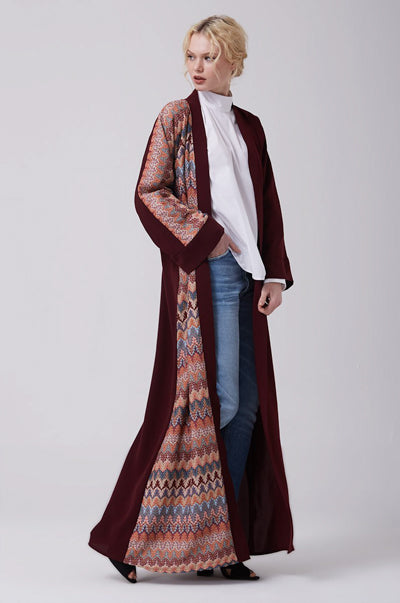 Must-Have Open Abaya Kimono Designs Red Maroon Knitted