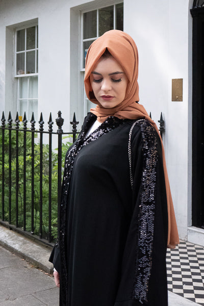 Best Stylish Abayas UK Black Sequins Sleeves and Collar Plackets