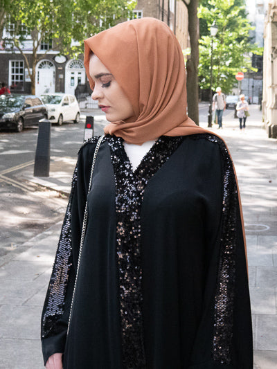 How To Style Open Abaya Kimono Designs Black Sequins