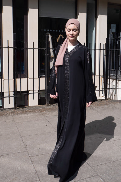 how to style fancy abaya designs black sequins