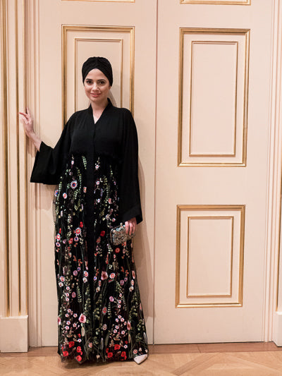 affordable long dress with hijab floral black