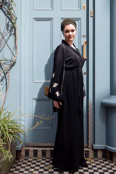 Top Designer Abayas For Weddings Black with White Flowers on Sleeves