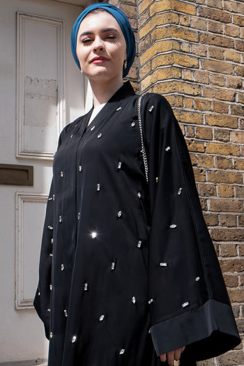 Where To Buy Fancy Abayas For Weddings Black Abaya with Gemstones