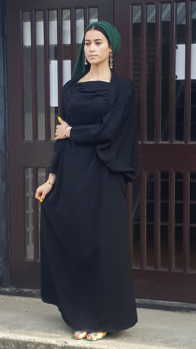 Modest Dressing Black Simple Abaya Dress