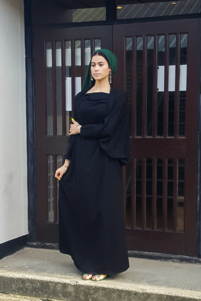 affordable black long dress with green hijab