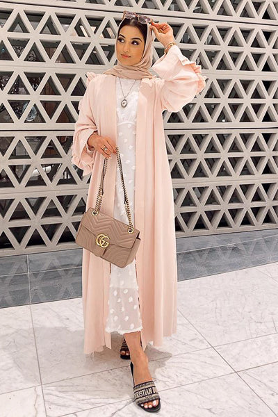 Where To Buy Modest Clothes Online Open Abaya Frills Blush