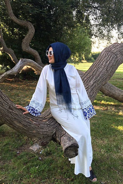 Plus Size Modest Clothing White Abaya Dress