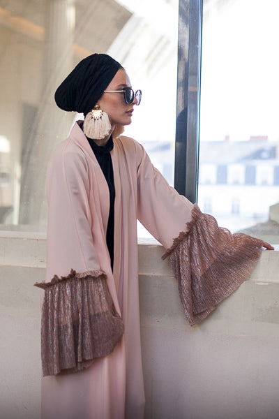 Where To Buy Modest Clothes Online Pink Open Abaya Dress Loose Sleeves