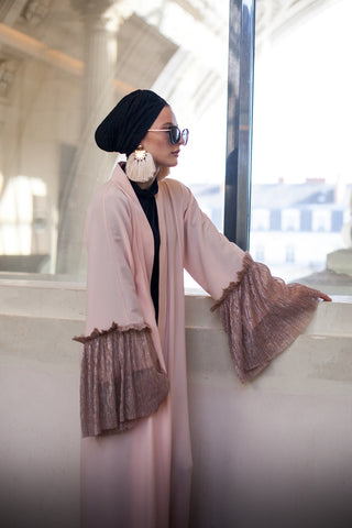 What to Wear Under a Pink Open Abaya