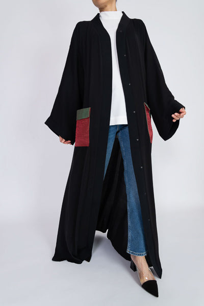 Modest Dressing Black Open Abaya Pockets
