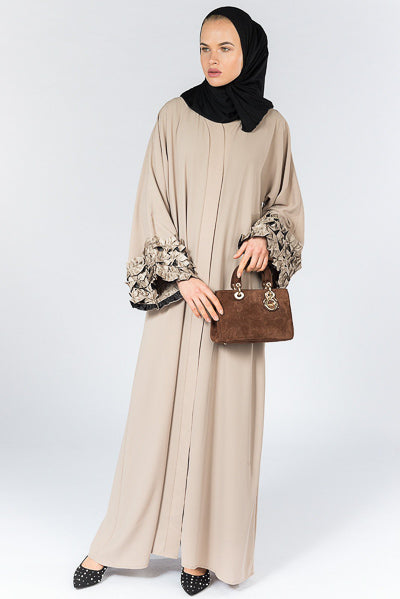 Best Abaya For Wedding UK in Beige with Frills on Cuffs