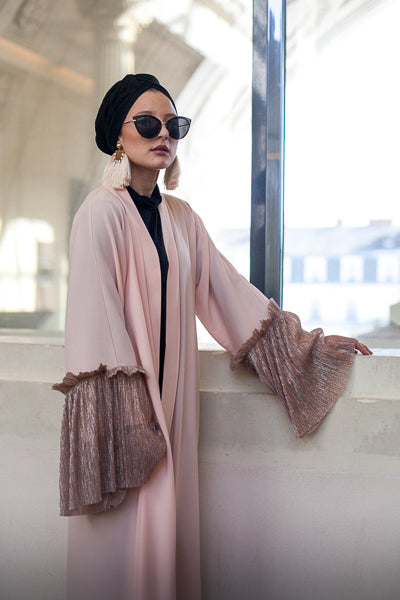 Modest Dressing Pink Open Abaya Coat