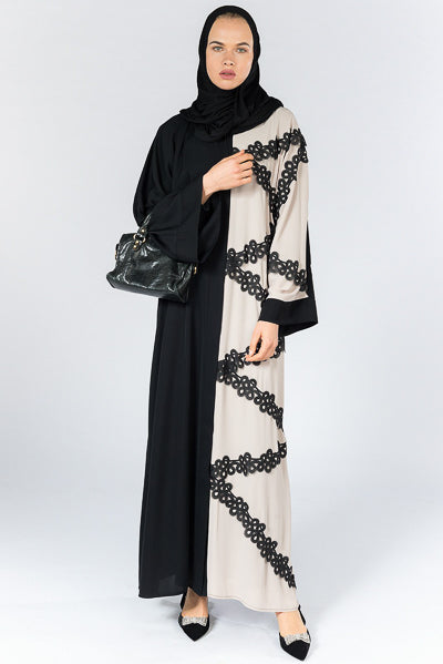 Best Hijabs and Abayas Occasions Black Beige Lace Abaya