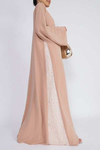 Where To Buy Fashionable Modest Clothing Blush Abaya Dress Side Lace