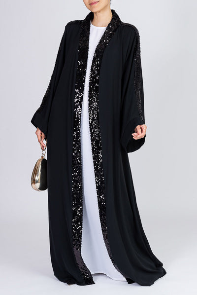 Top Designer Abayas Black Open