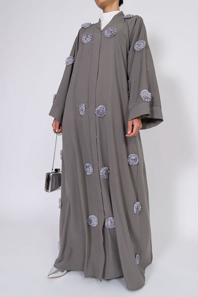 Designer Abayas For Weddings Grey Flower Abaya