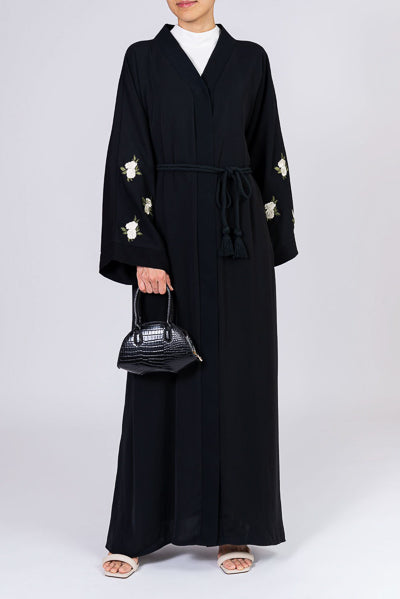 Top Designer Abayas For Weddings Black with White Flowers and Belt