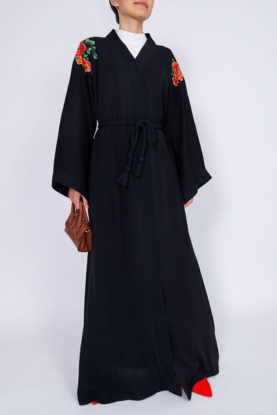 different designs of abaya with flowers on shoulders