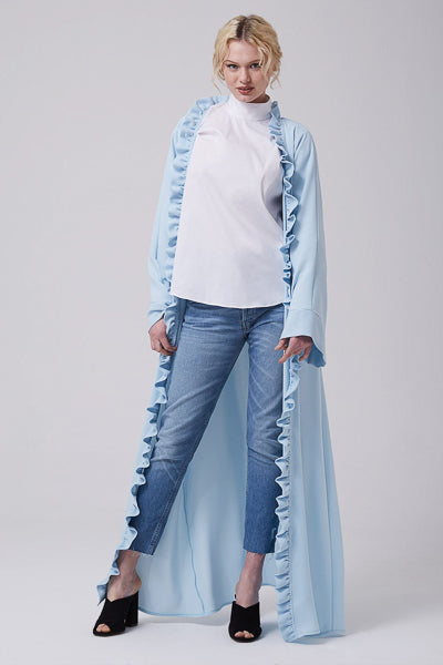 designs of abaya with open front and frill baby blue