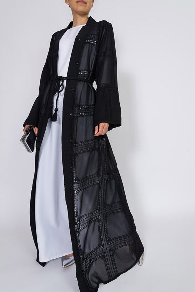designs of abaya with see through black tulle and belt