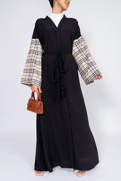 designs of abaya with beige checkered sleeves and belt