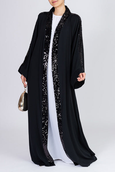 fancy abaya designs how to style black shiny sequins