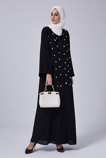 Abaya And Hijab Styles Black Gemstones Abaya